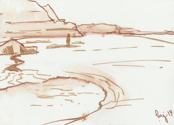 Drawing - Exmouth Beach Watercolour Sketch by Mike Jory