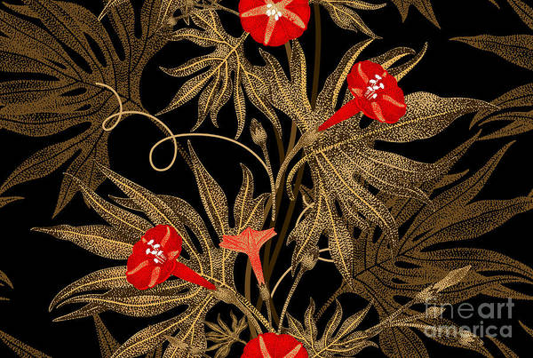 Victorian Garden Wall Art - Digital Art - Exotic Climbing Plant Ivy. Vector by Mamita