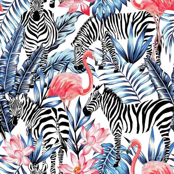 Exotic Pink Flamingo, Zebra On Art Print