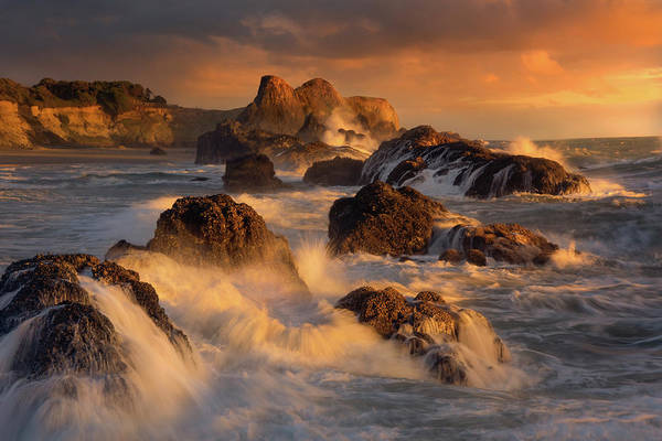 Wall Art - Photograph - Exploding Waves Off Rocks On Seal Rock by Sheila Haddad