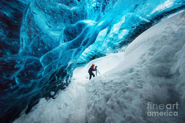 Wall Art - Photograph - Explorer Inside Ice Cave At Vatnajokull by Bon Appetit
