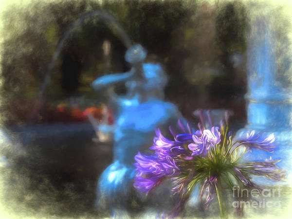 Digital Art - Expressive Flower And Fountain At Forsyth Park by Amy Dundon