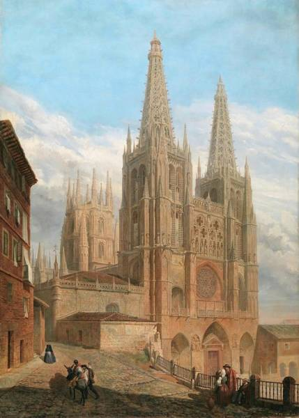Wall Art - Painting - 'exterior Of Burgos Cathedral'. 1859. Oil On Canvas. by Francisco Javier Parcerisa Y Boada
