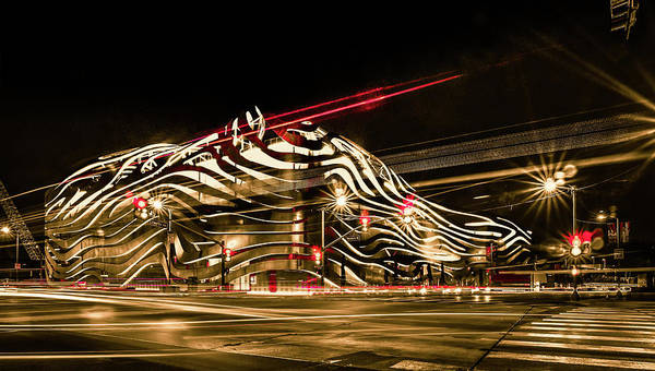 Photograph - Exterior Of Petersen Automotive Museum At Night In November With by Alex Grichenko