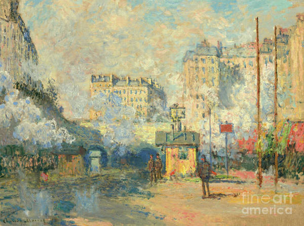 Wall Art - Painting - Exterior Of Saint Lazare Station, Sunlight Effect, 1877 by Claude Monet