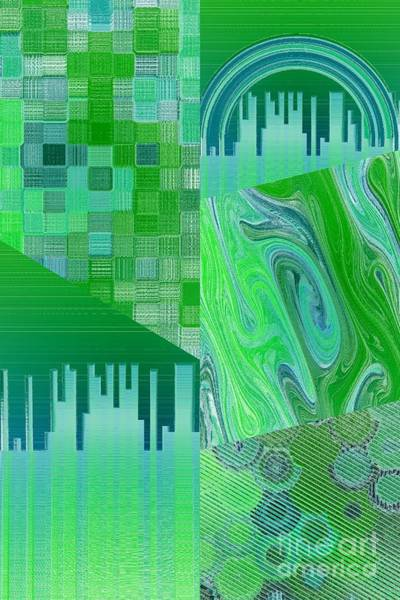 Digital Art - Extracts Of Blue And Green by Rachel Hannah