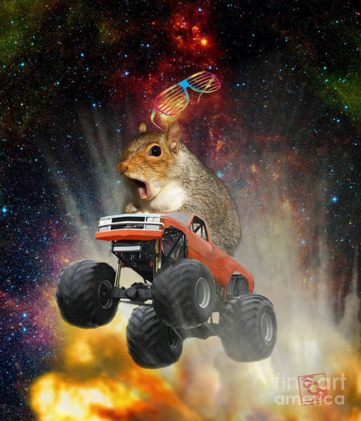 Digital Art - Extreme Crazy Squirrel Driving A Monster Truck Jumping Over An Explosion With Galaxy by Erik Paul