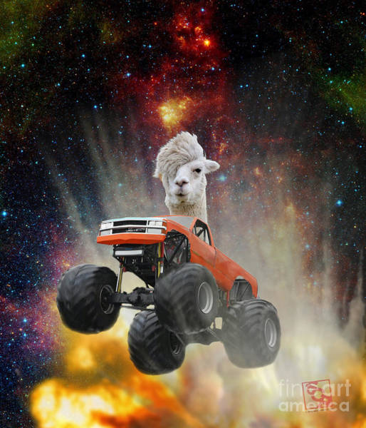 Digital Art - Extreme Emo Lama Driving A Monster Truck Jumping Over An Explosion With Galaxy   by Erik Paul