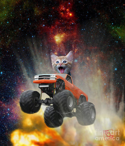 Digital Art - Extreme Kitten Driving A Monster Truck Jumping Over An Explosion With Galaxy 1 by Erik Paul