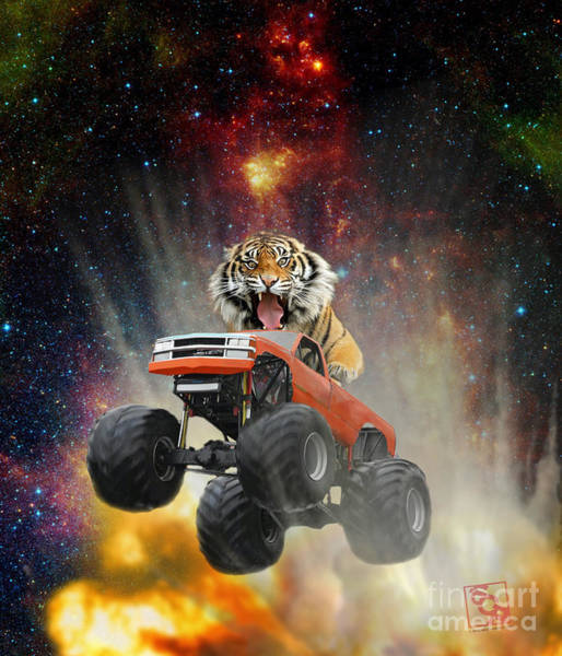 Digital Art - Extreme Pissed Off Tiger Driving A Monster Truck Jumping Over An Explosion With Galaxy by Erik Paul