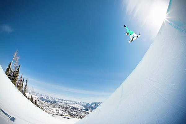 Aspen Photograph - Extreme Snowboarder In Half Pipe by Tyler Stableford