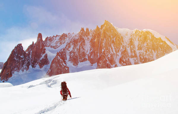 Courage Wall Art - Photograph - Extreme Sport. Lone Hikers In Winter by Vixit