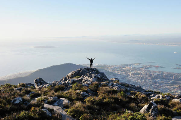 Human Body Photograph - Exuberant Man On Top Of Table Mountain by David Malan