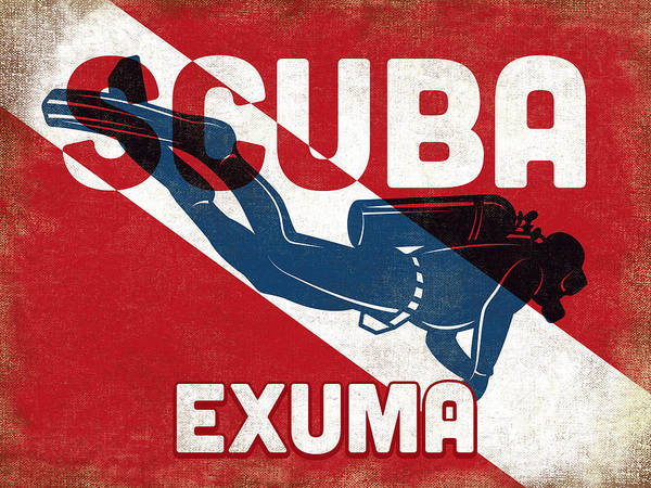Bahamas Digital Art - Exuma Scuba Diver - Blue Retro by Flo Karp