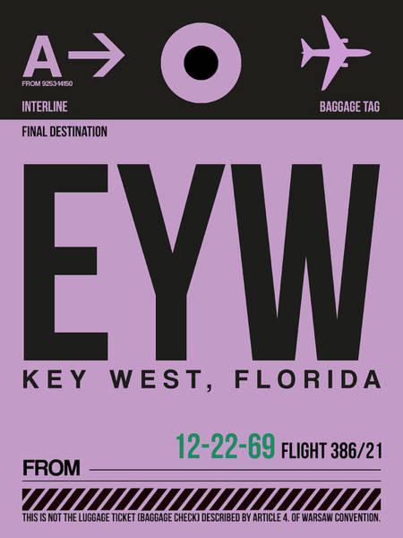 Wall Art - Digital Art - Eyw Key West Luggage Tag I by Naxart Studio