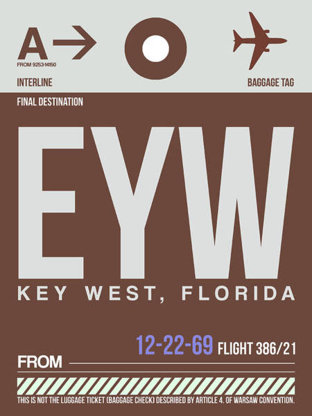 Wall Art - Digital Art - Eyw Key West Luggage Tag II by Naxart Studio
