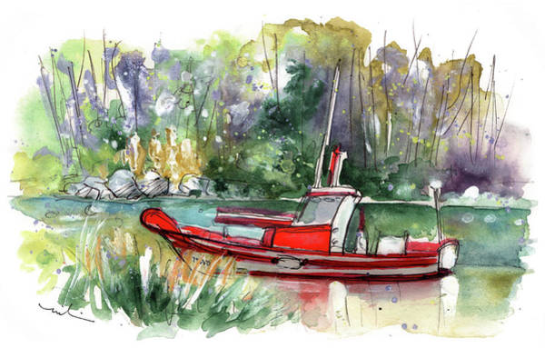 Painting - Boats In Ezaro In Galicia 01 by Miki De Goodaboom