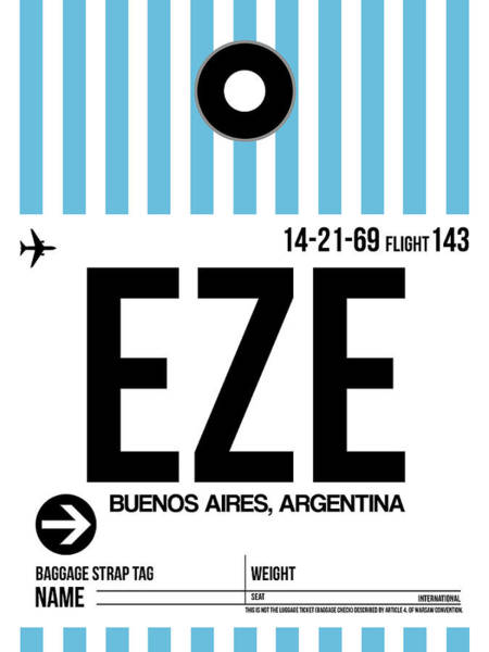 Wall Art - Digital Art - Eze Buenos Aires Luggage Tag I by Naxart Studio