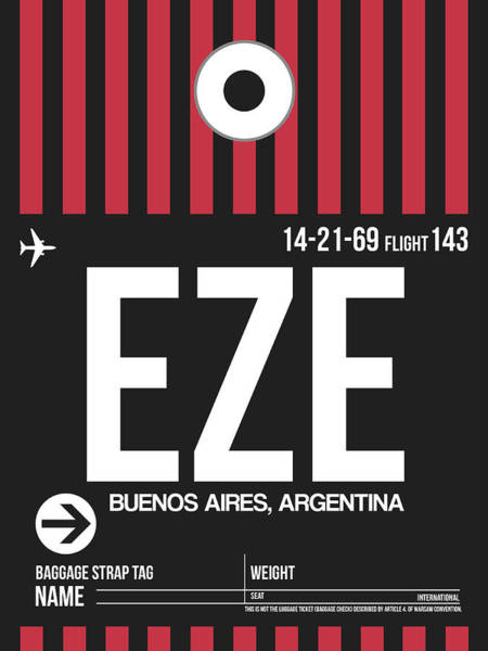 Wall Art - Digital Art - Eze Buenos Aires Luggage Tag II by Naxart Studio
