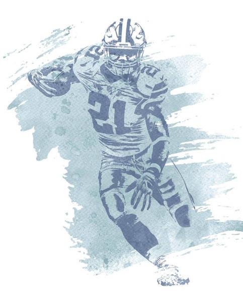 Wall Art - Mixed Media - Ezekiel Elliott Dallas Cowboys Water Color Pixel Art 13 by Joe Hamilton