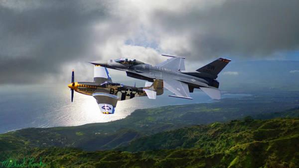 Wall Art - Photograph - F-16 Viper - P-51 Mustang by Michael Rucker