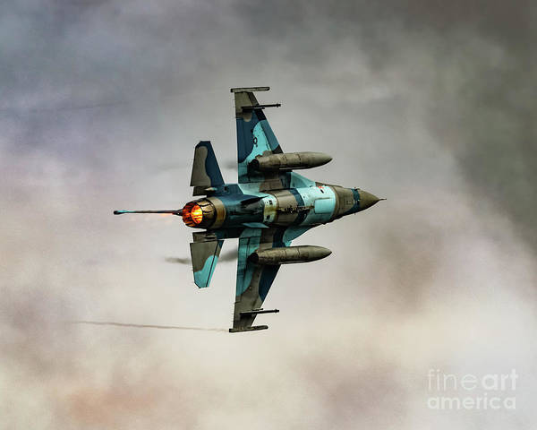 354th Fighter Wing Photograph - F-16c Of 18th Aggressor Squadron Turning And Burning by Joe Kunzler