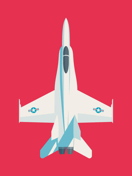 Wall Art - Digital Art - F-18 Hornet Jet Fighter Aircraft - Crimson by Ivan Krpan
