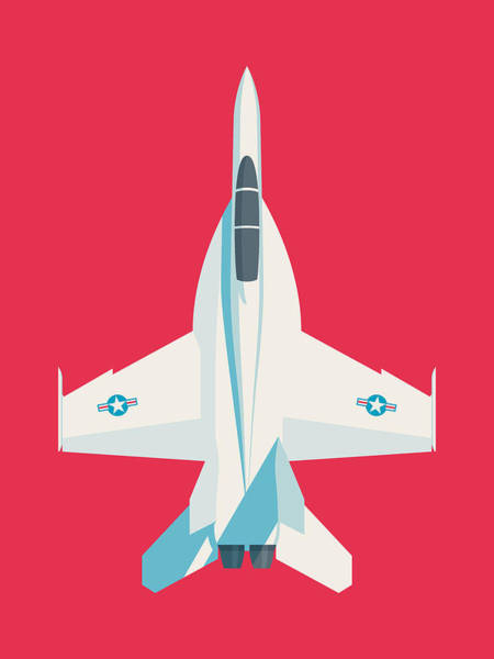 Wall Art - Digital Art - F-18 Super Hornet Jet Fighter Aircraft - Crimson by Ivan Krpan