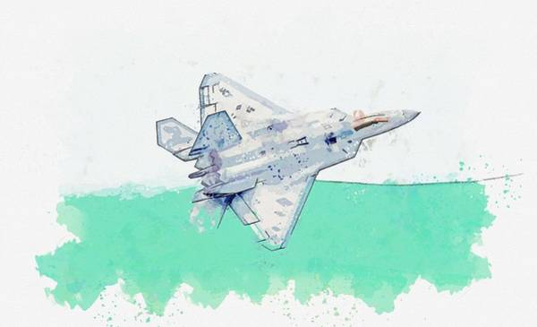 Wall Art - Painting - F-22 Raptor, U S  Air Force Watercolor By Ahmet Asar by Celestial Images