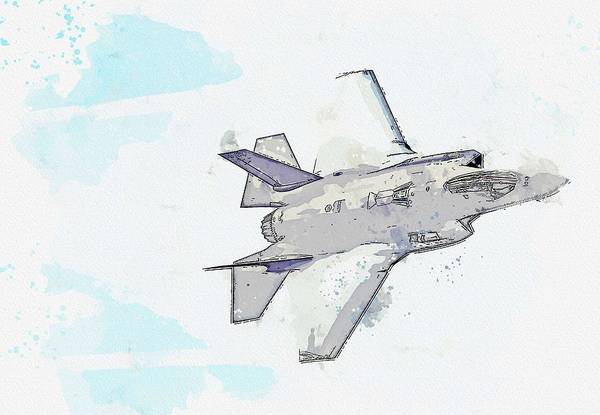 Wall Art - Painting - F-35, U S  Air Force Watercolor By Ahmet Asar by Celestial Images