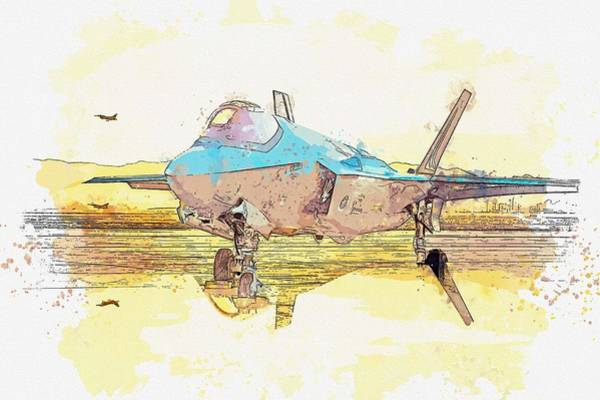 Wall Art - Painting - F-35a Lighting II Watercolor By Ahmet Asar by Celestial Images
