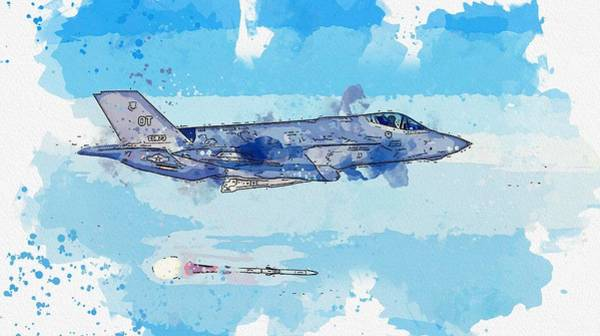Wall Art - Painting - F-35a Lightning II Watercolor By Ahmet Asar by Celestial Images