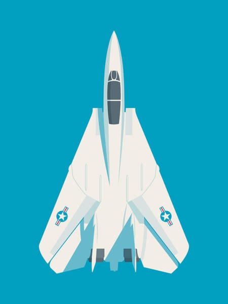 Jet Digital Art - F14 Tomcat Fighter Jet Aircraft - Cyan by Ivan Krpan