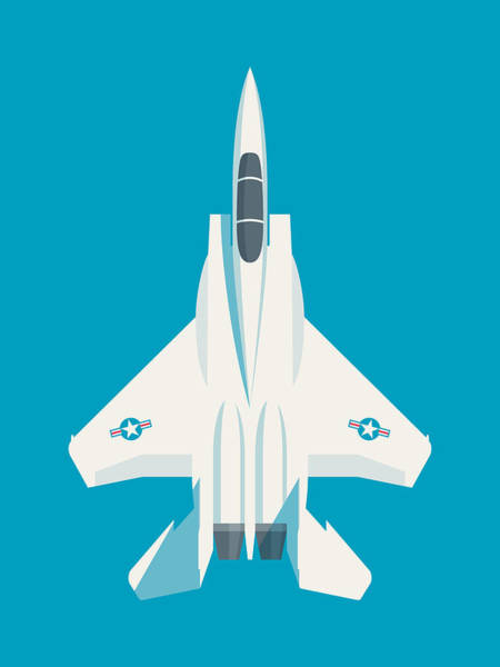 Aircraft Digital Art - F15 Eagle Fighter Jet Aircraft - Blue by Ivan Krpan