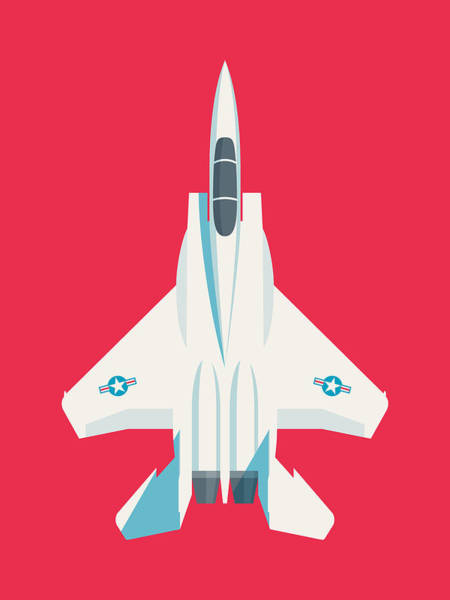 Wall Art - Digital Art - F15 Eagle Fighter Jet Aircraft - Crimson by Ivan Krpan