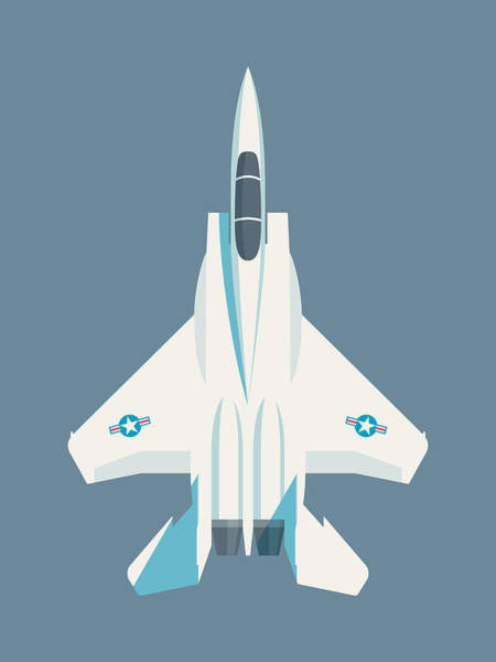 Aircraft Digital Art - F15 Eagle Fighter Jet Aircraft - Slate by Ivan Krpan