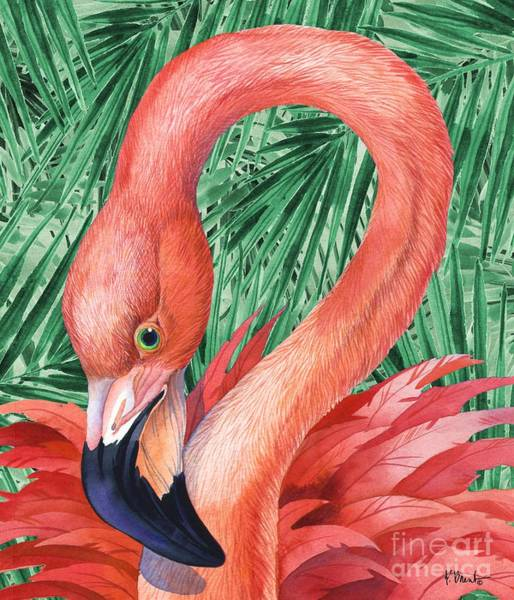 Wall Art - Painting - Fab Flamingo - Palms by Paul Brent