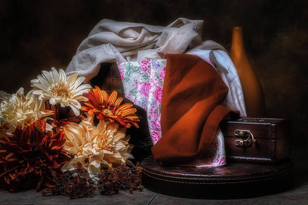 Orange Wood Photograph - Fabric And Flowers by Tom Mc Nemar