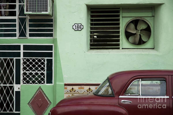 Landmark Wall Art - Photograph - Facade And Oldtimer In Old Havana by Roxana Gonzalez