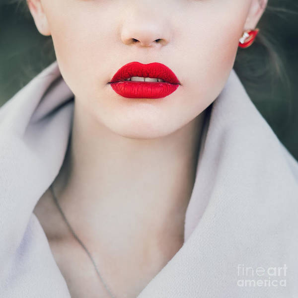 Wall Art - Photograph - Face Of A Beautiful Girl With Red Lips by Aleshyn andrei