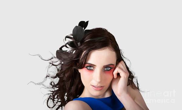 Blue Hair Photograph - Face Of A Female Beauty With Red Eye Make Up by Jorgo Photography - Wall Art Gallery