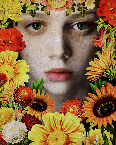 Digital Art - Face Of A Girl Surrounded By Flowers by Jan Keteleer