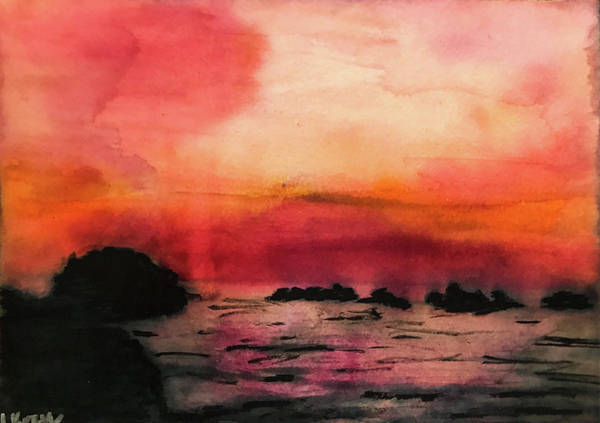 Oregon Coast Mixed Media - Face Rock Sunset by Lisa McKinney Kreymborg