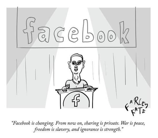 Facebook Drawing - Facebook Doublethink by Farley Katz