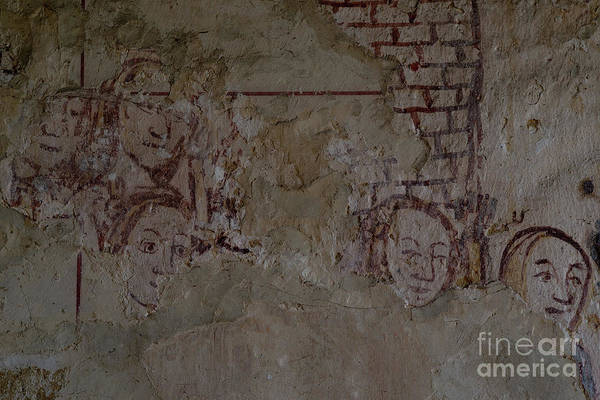 Wall Art - Photograph - Faces From Medieval England, Wall Painting In Cotswolds Ivy Church, Ampney St Mary, Uk by Terence Kerr