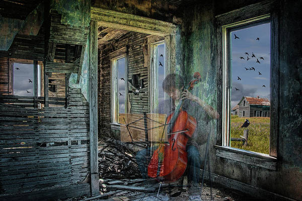 Photograph - Faded Memory Before The Ruins. A Semi-trasnparent Cello Player  by Randall Nyhof
