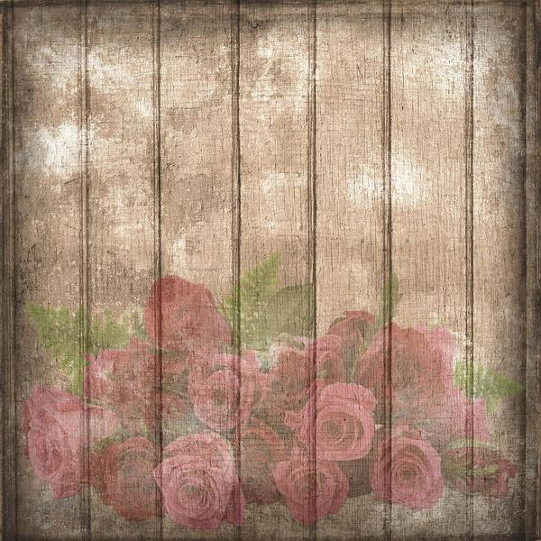 Faded Red Country Roses On Wood Art Print