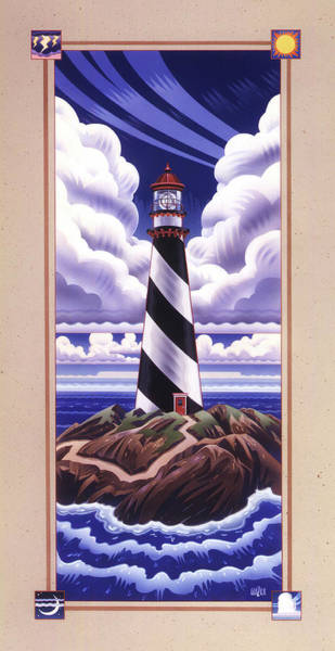 Wall Art - Painting - Fair Weather Lighthouse  by Garth Glazier