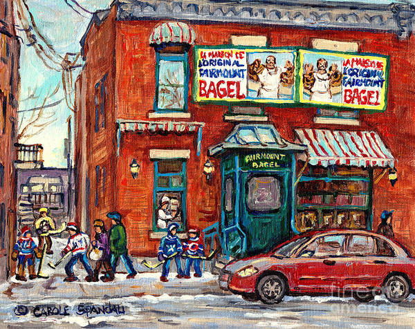 Painting - Fairmount Bagel Bakery Laneway Hockey Art Depanneur Winter Scenes C Spandau Montreal Landmark Stores by Carole Spandau