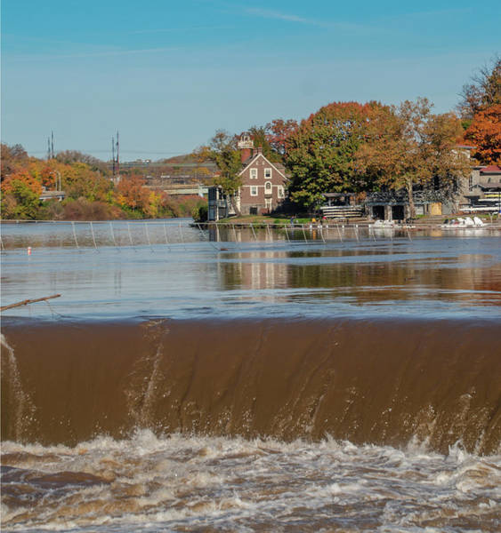 Photograph - Fairmount Dam And Turtle Rock Lighthouse In Autumn by Bill Cannon